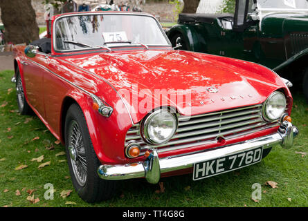 A 1966 Triumph TR4  on display at the Quay Green Classic Car Meet, part of  the 2018 Sandwich Festival, Kent - Stock Image