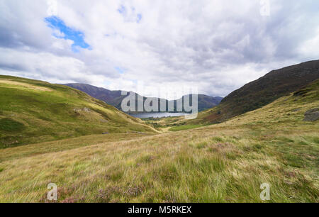 Views of Crummock Water, Grasmoor and Robinson from Floutern Cop in the English Lake District, UK. - Stock Image
