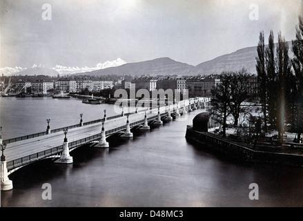 Pont du Mont Blanc, Geneva, Switzerland, ca 1880 - Stock Image