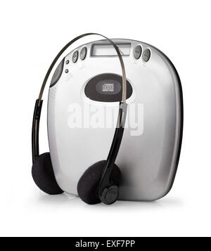 A shot of an old fashioned cd player with headphones - Stock Image