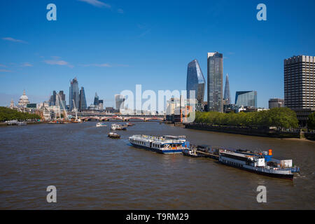 London Panorama showing the City of London new buildings photographed from Waterloo Bridge. 16 May 2019 The changing face of the City of London skylin - Stock Image