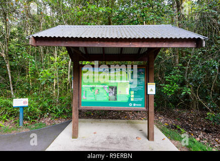 Shelter with name sign and information at Hypipamee National Park, a World Heritage tropical rainforest, Atherton Tableland,  Far North Queensland, FN - Stock Image