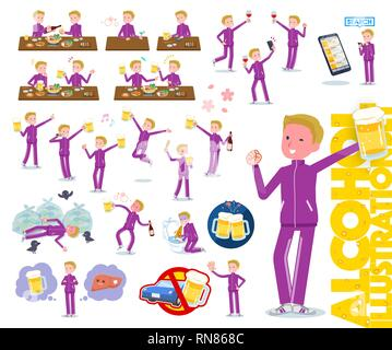 A set of school boy in sportswear related to alcohol.There is a lively appearance and action that expresses failure about alcohol.It's vector art so i - Stock Image