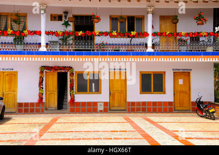 Colorful priest's house near to Rock Temple in Medellin , Colombia - Stock Image