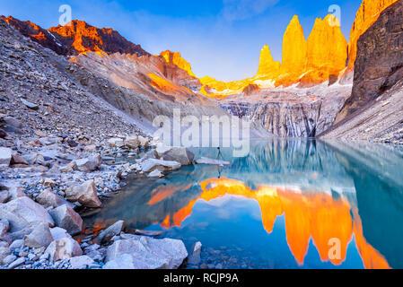 Torres del Paine, Chile, Laguna Torres, famous landmark of Patagonia, South America - Stock Image
