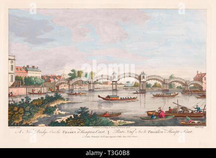 The New Bridge over the Thames at Hampton Court.  Printed in 1754.  After a work by Canaletto.   The bridge, the first on the old Tudor ferry crossing point, opened in 1753 - Stock Image
