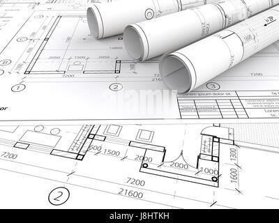Generic Architectural blueprints, drawings and sketches. 3 Rolls.  3D render. - Stock Image