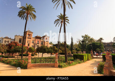 Spain, Andalucia, Sevilla, Parque Maria Luisa, Mudejar pavilion, Museo de Artes y Costumbres Populares - Stock Image