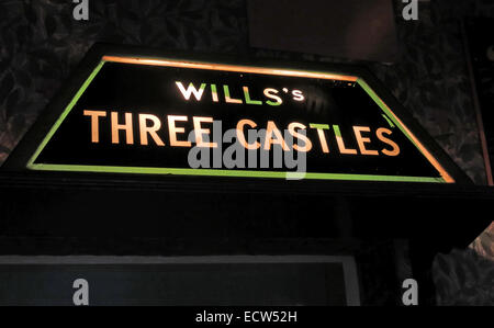 Wills Cigarettes sign Three Castles from The Albion Inn Chester England UK - Stock Image