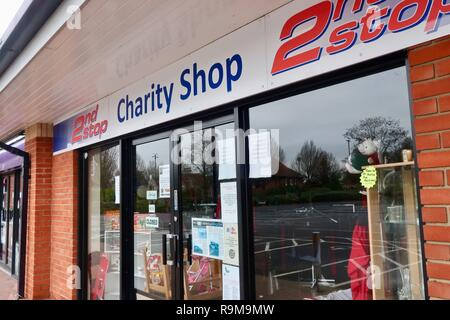 2nd stop charity shop closed on Boxing Day, December 2018. Kesgrave, Ipswich, Suffolk, UK. - Stock Image
