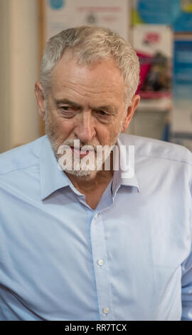 Jeremy Corbyn M.P. leader of the Labour Party speaking on labour's plan for a fairer Britain at a rally in Beeston, Nottingham - Stock Image