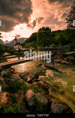 Wonderful Bavarian Alps landscape with Parish Church of St Sebastian - Ramsau, Berchtesgaden National Park - Germany in summer - Stock Image
