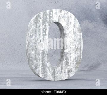 3D rendering concrete number 0 zero. 3D render Illustration. - Stock Image