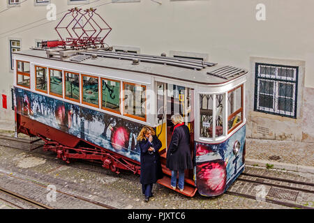 funicular railway Carriage Lisbon Portugal - Stock Image