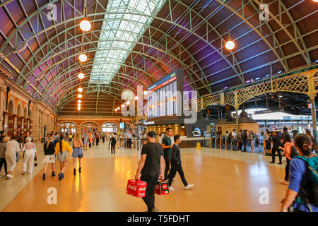 Central station Sydney with its barrel vault roof and passenger concourse,Sydney,Australia - Stock Image