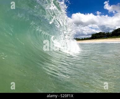 Inside of a wave breaking. Fiji. - Stock Image