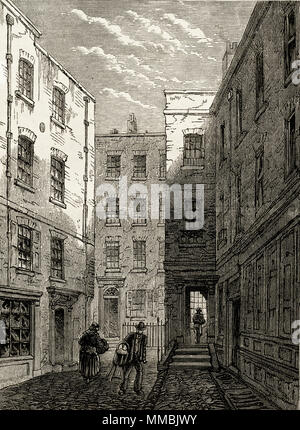 Boswell Court, London, England, UK pictured shortly before demolition. 19th century Victorian engraving circa 1878 - Stock Image