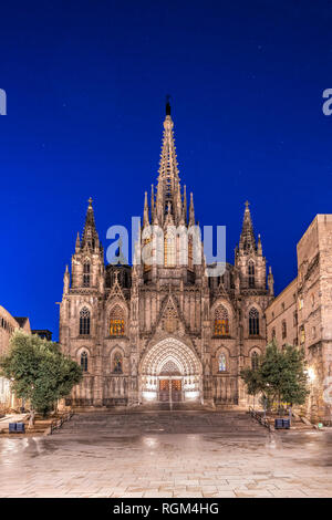 Night view of the Cathedral of the Holy Cross and Saint Eulalia, Barcelona, Catalonia, Spain - Stock Image