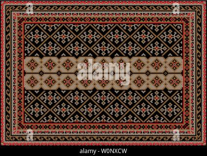 Luxury antique oriental carpet in brown and black shades with beige stripe in the center and gray with red patterns - Stock Image