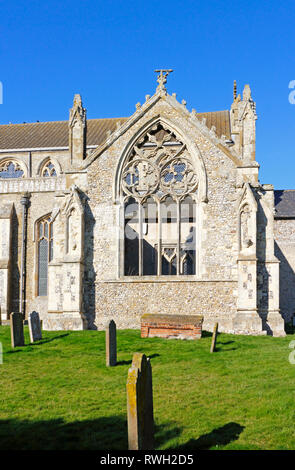 A view of the ruined transept of the parish Church of St Margaret in North Norfolk ar Cley-next-the-Sea, Norfolk, England, United Kingdom, Europe. - Stock Image