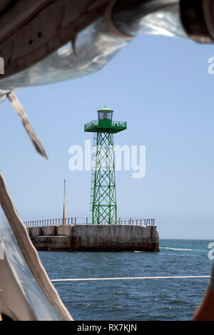 Lighthouse Structure on Pier in Table Bay , Cape Town, South Africa - Stock Image