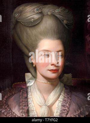 Benjamin West, Queen Charlotte, portrait painting (detail), 1777 - Stock Image
