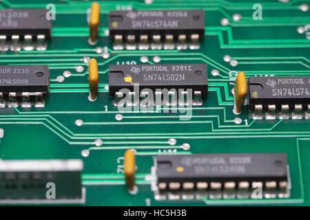 LS TTL logic gate chips on PCB - Stock Image