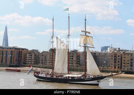 Tall Ship Oosterchelde, River Thames,London ,UK - Stock Image