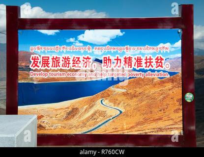 Propaganda billboard heralding development for tourism to alleviate poverty, at a rest area above Yamdrok Tso (Lake), Tibet, China - Stock Image