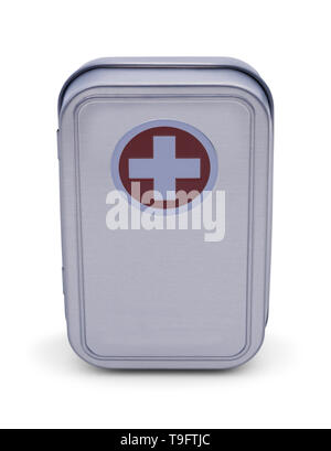 Metal First Aid Kit Box Isolated on White Background. - Stock Image
