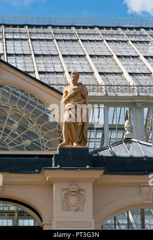 Statue Of Silvanus The Roman god of woods and fields at The Entrance Of The Temperate House in The Royal Botanic Gardens Kew Gardens London England UK - Stock Image