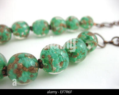 Vintage glass lampwork glass bead necklace - Stock Image