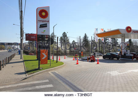 petrol station outside Bucharest airport Romania - Stock Image