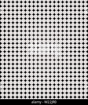White abstract circles in parallel straight rows on black background. Print. White symmetrical dots, monochrome pattern. - Stock Image