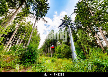 Ski lift in the summer in a green forest going to the top of a mountain - Stock Image