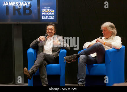 Richard Hammond and James May on stage at the Lecture Theatre, during  the London Motor Show 2018. - Stock Image