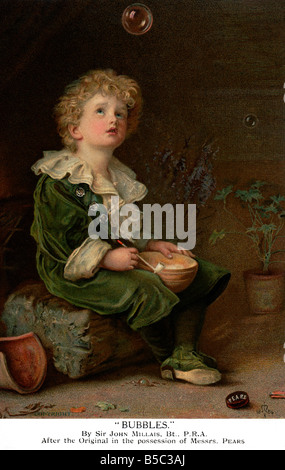 Bubbles by Sir John Millais an old vintage  Postcard featuring Pears Soap and posted 1914 nb OK FOR EDITORIAL USE - Stock Image
