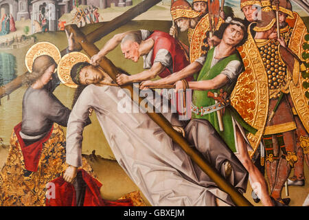 England, Cambridgeshire, Cambridge, Fitzwilliam Museum, Painting titled 'The Road to Calvary' by Juan and - Stock Image