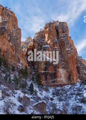 The towering canyon alls on the Bright Angel Trail. When the sun hit one wall, the heat melted ice and chunks of ice and rock came down with an amazin - Stock Image