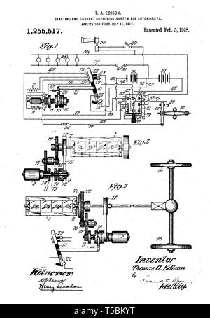 Thomas Edison, automobile starter motor invention, illustration, 1918 - Stock Image