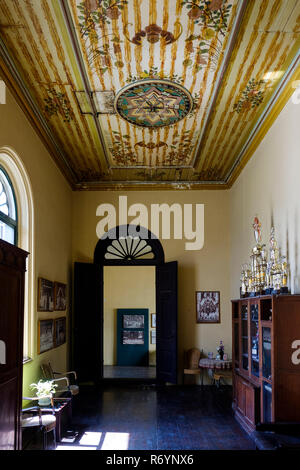 Painted celings in first floor room, Tjong A Fie Mansion, Medan, North Sumatra, Sumatra, Indonesia. - Stock Image