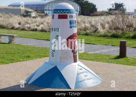 Utah Beach, Normandy, France, March,26, 2019 Memorial, begin of the D-Day Liberation Route Km 00 at Utah Beach - Stock Image