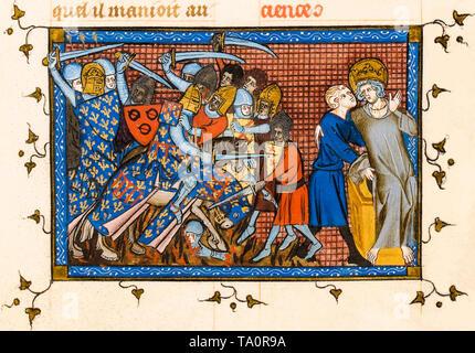 Knights Templar, Crusades, Battle of Al Mansurah, illuminated manuscript, c. 1330 - Stock Image