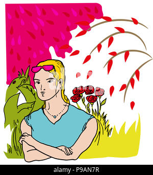 Girl in the garden.  Girl standing in the middle of the garden. illustration of the young woman with glaesses in the garden. - Stock Image