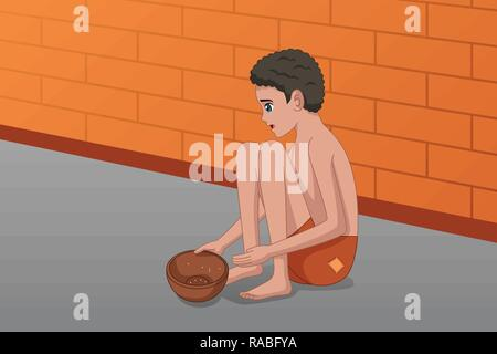 A vector illustration of Homeless Panhandler Kid on the Street - Stock Image
