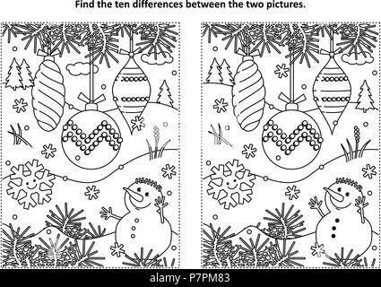 Winter holidays, New Year or Christmas themed find the ten differences picture puzzle and coloring page with christmas tree ornaments and snowman. - Stock Image