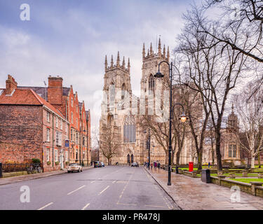 The West facade of York Minster, seen in winter from Duncombe Place. - Stock Image