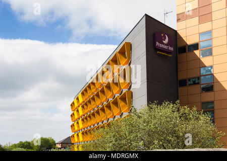 Premier Inn hotel building, Angeloume Way/ Bury. Completed in 2011, designed to maximise natural inside but minimise solar overheating. - Stock Image