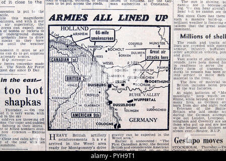 'Armies All Lined Up' WWII map of Rhine in Germany & Holland in a Daily Express newspaper Second World War article on March 23 1945 London England UK - Stock Image