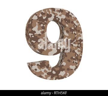 3D rendering Camouflage number 9 nine. 3D render Illustration. - Stock Image